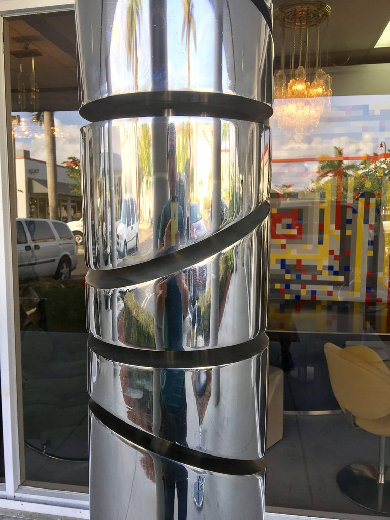 Itzhak Shmueli Unique Stainless Steel Tower Sculpture For Sale 2