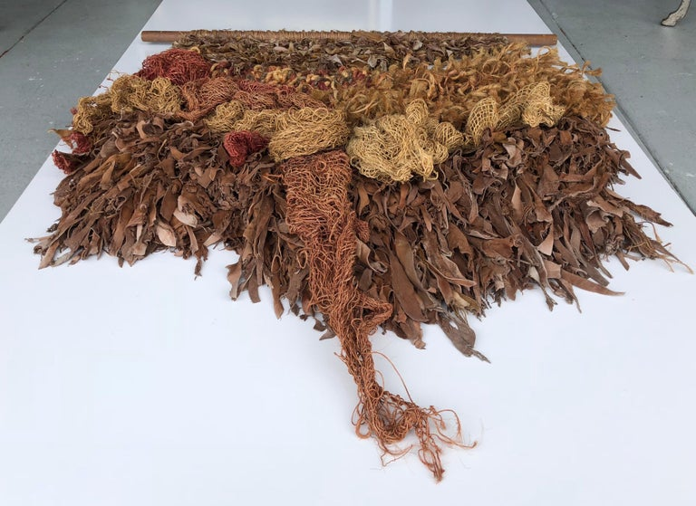 Modern Leather and Natural Fibers Wall Sculpture, 1970s For Sale 5