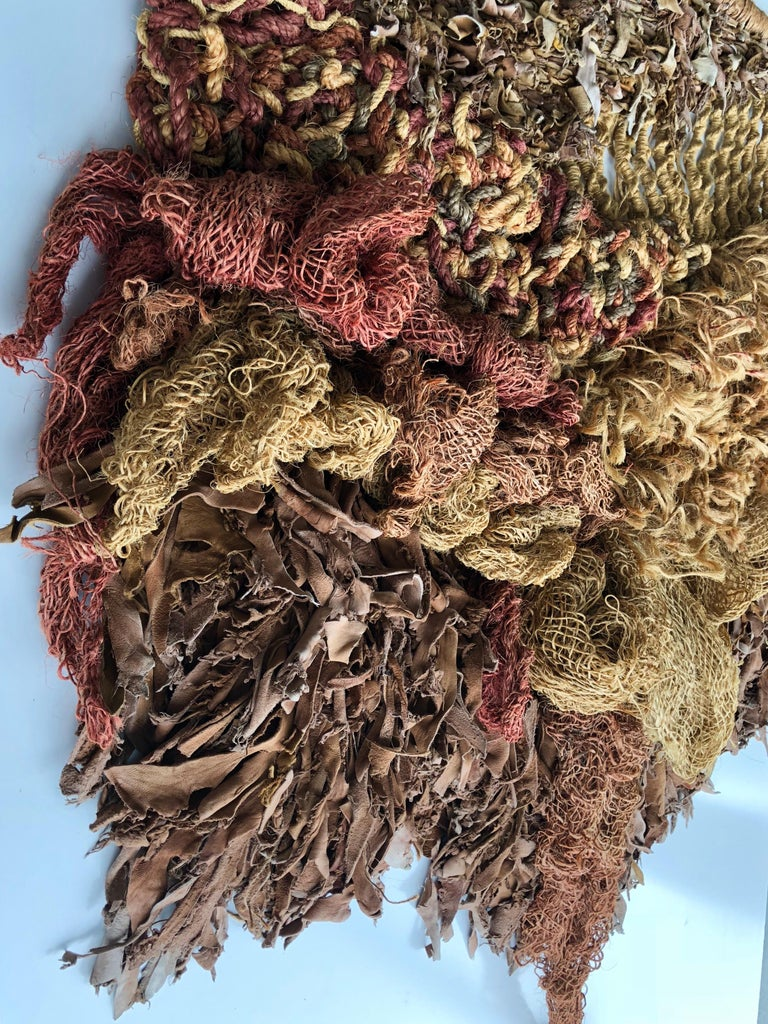 Modern Leather and Natural Fibers Wall Sculpture, 1970s For Sale 1