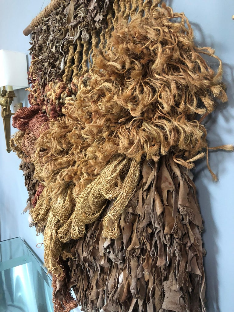 Italian Modern Leather and Natural Fibers Wall Sculpture, 1970s For Sale