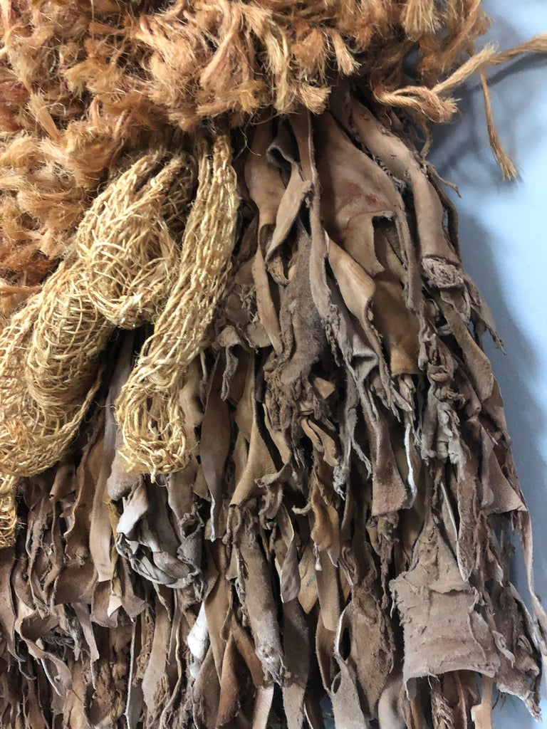 Modern Leather and Natural Fibers Wall Sculpture, 1970s For Sale 3