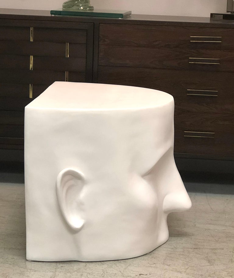 American Sculptural Head Architectural Table Bench, 1980s For Sale
