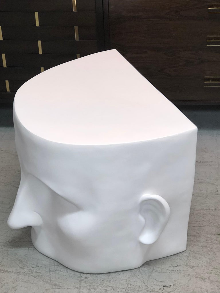 Resin Sculptural Head Architectural Table Bench, 1980s For Sale