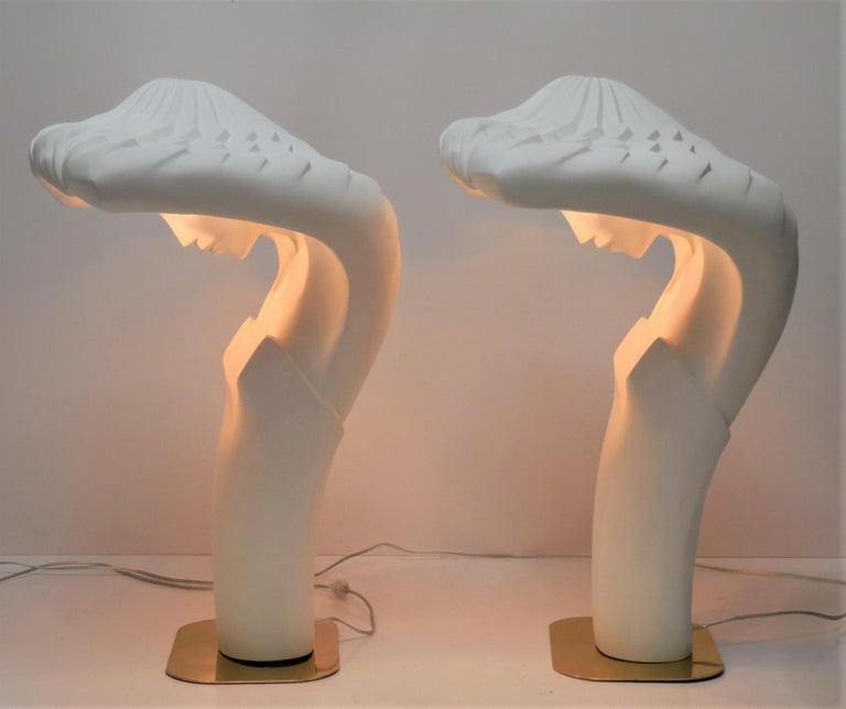 This is a pair of large sculptural lamps by Linsey Balkweill. Each lamp measures 28