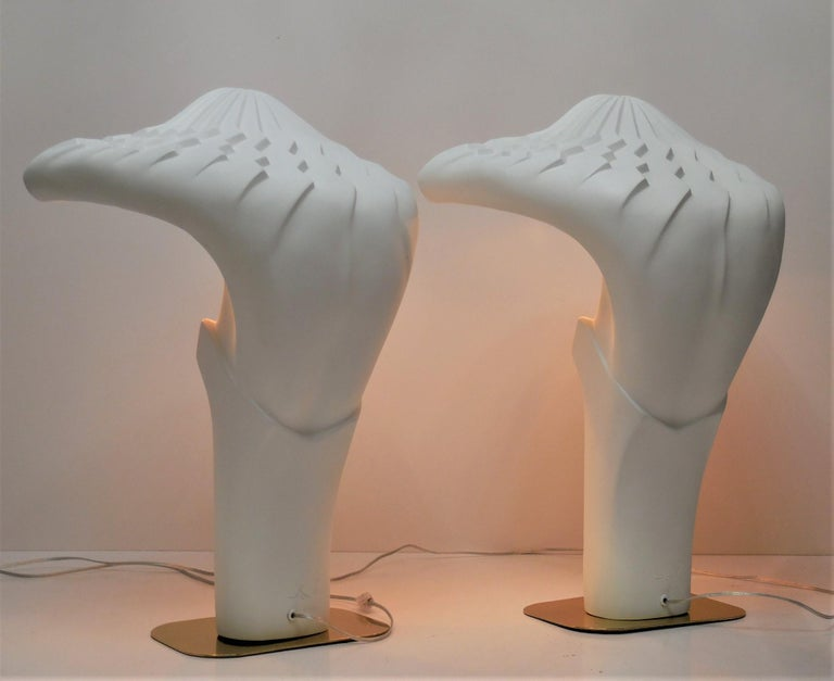 American Pair of Large White Sculptural Lamps by Lindsey Balkweill, 1984 For Sale