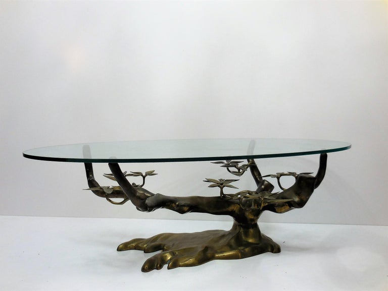 Belgian Willy Daro Brass Bonsai Tree Coffee Table, 1970s For Sale