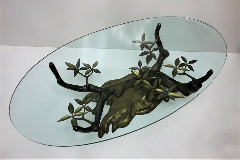 Willy Daro Brass Bonsai Tree Coffee Table, 1970s In Excellent Condition For Sale In Miami, FL