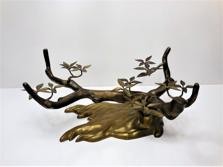 Willy Daro Brass Bonsai Tree Coffee Table, 1970s For Sale 2