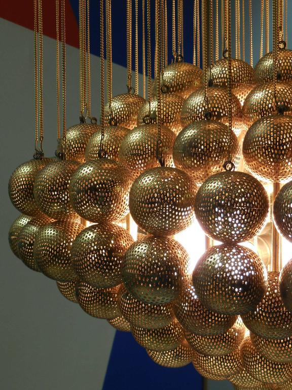 Italian Large Brass Chandelier With Perforated Spheres By Zero Quattro For