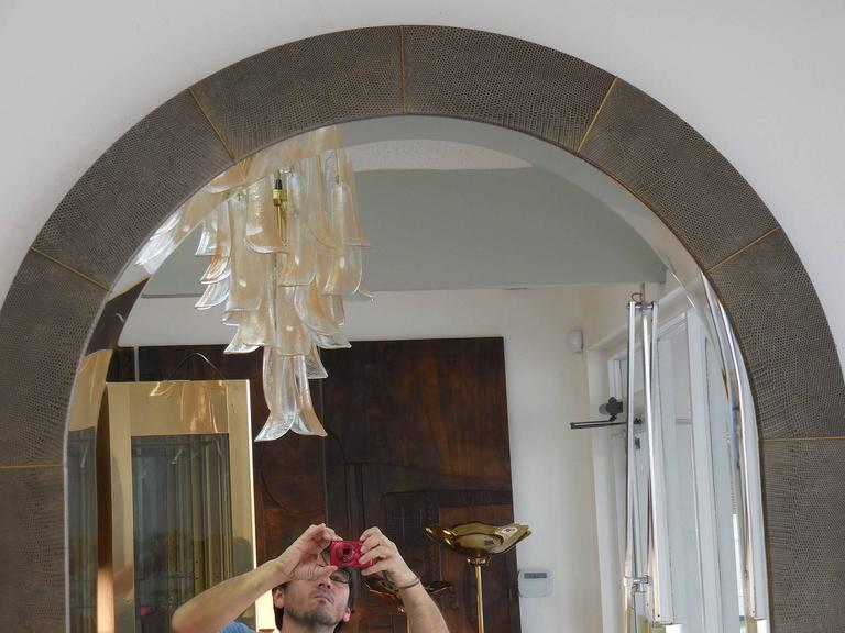 Large Lizard and Brass Mirror by Karl Springer In Excellent Condition For Sale In Miami, FL