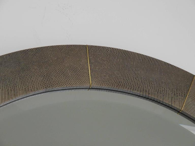 Late 20th Century Large Lizard and Brass Mirror by Karl Springer For Sale