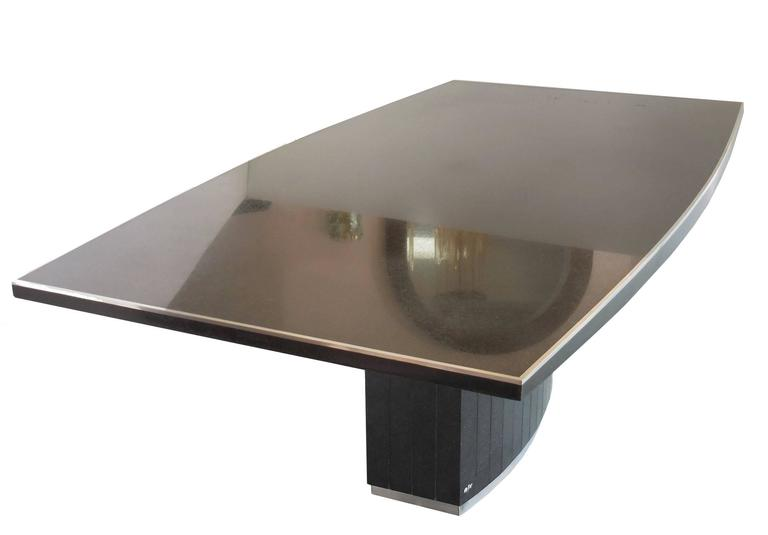 rare black granite and stainless steel dining table by willy rizzo 2
