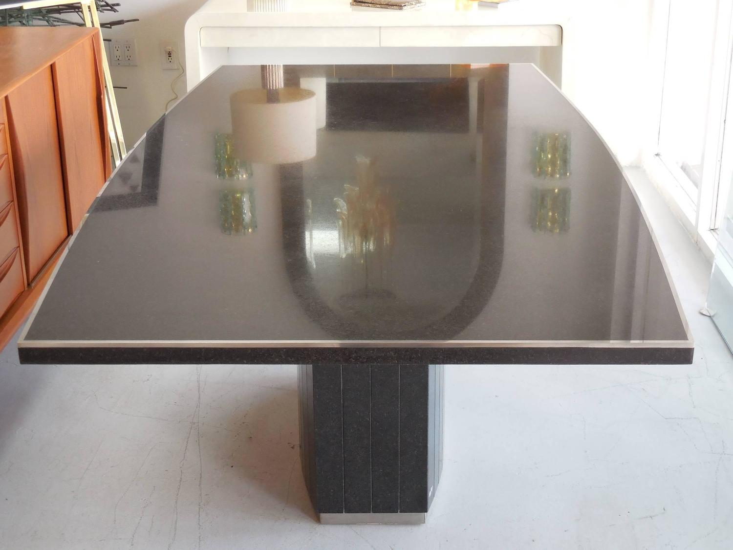 Rare Black Granite And Stainless Steel Dining Table By Willy Rizzo For Sale A