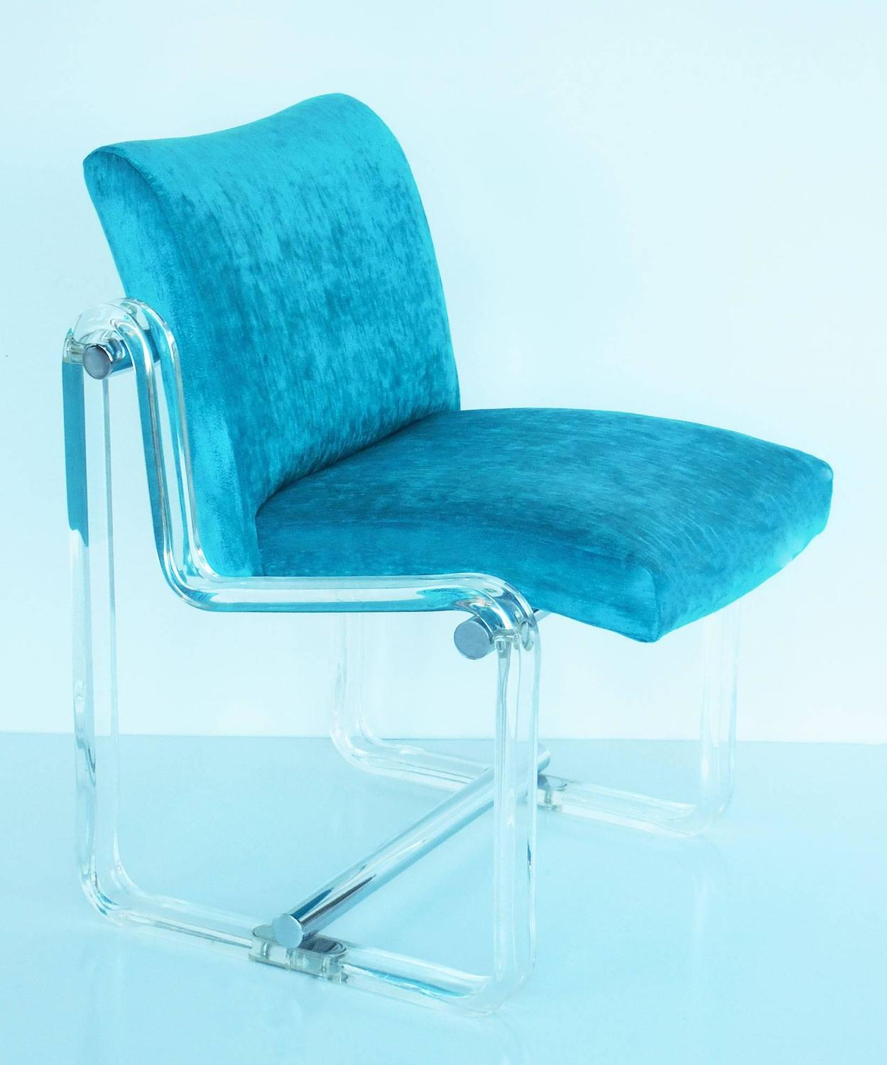 Six turquoise lucite and chrome dining chairs 1970s at 1stdibs - Turquoise upholstered dining chair ...