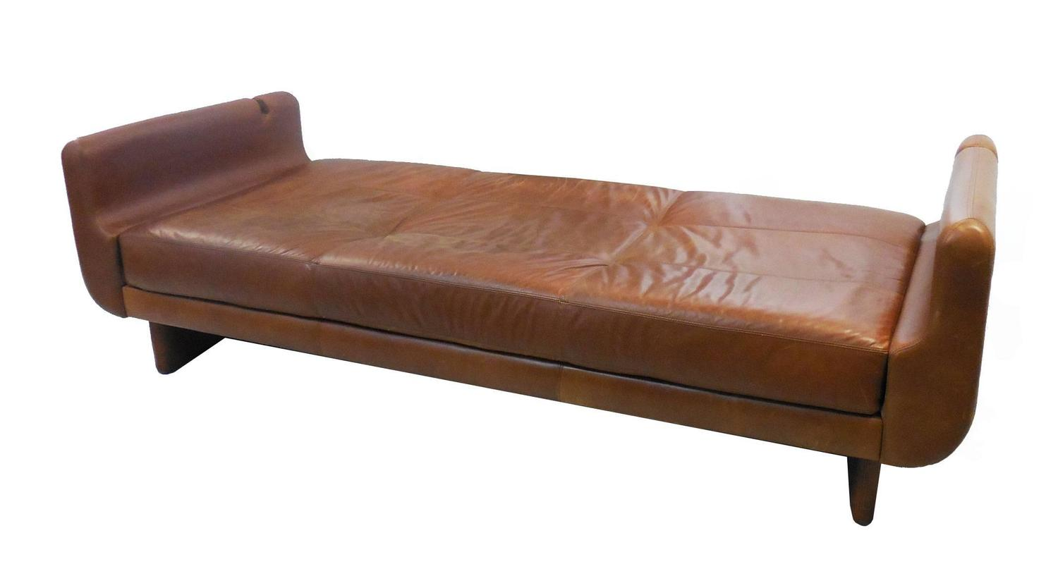 Modern Sculptural Leather Sofa Daybed