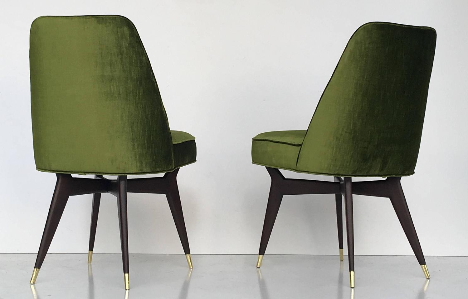 Six Mid Century Italian Dining Chairs In The Style Of Gio