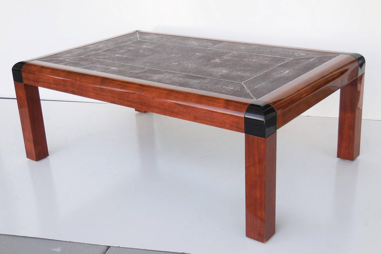 karl springer shagreen and wood coffee table 1987 for sale at 1stdibs