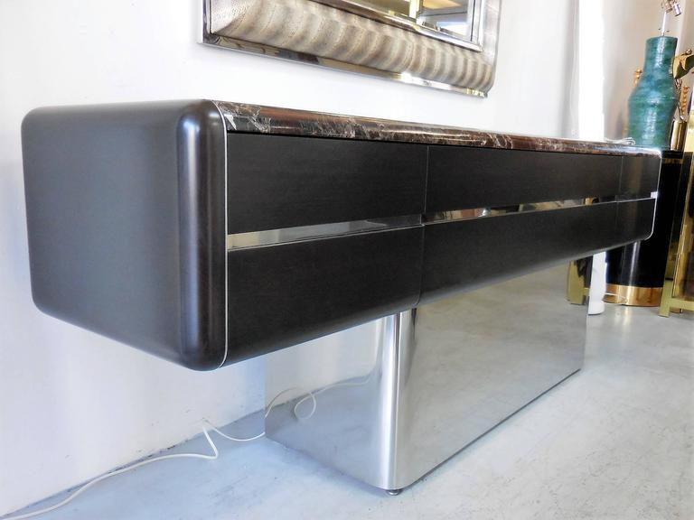American Vladimir Kagan Console Credenza with Marble Top and Polished Base For Sale