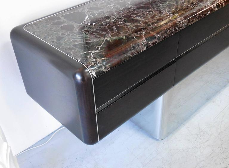 Vladimir Kagan Console Credenza with Marble Top and Polished Base In Excellent Condition For Sale In Miami, FL