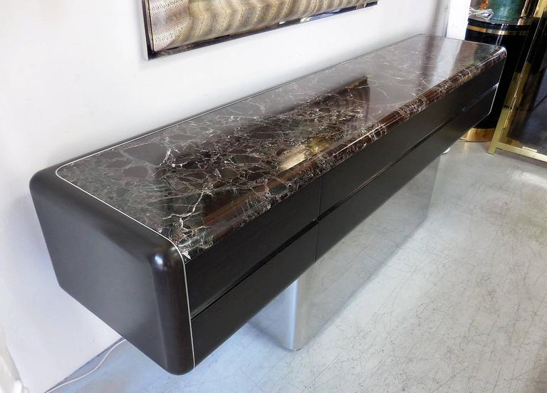 Vladimir Kagan Console Credenza with Marble Top and Polished Base For Sale 3