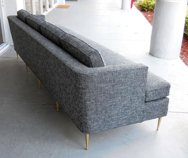 Mid-Century Dunbar Style Sofa with Brass Legs For Sale 2