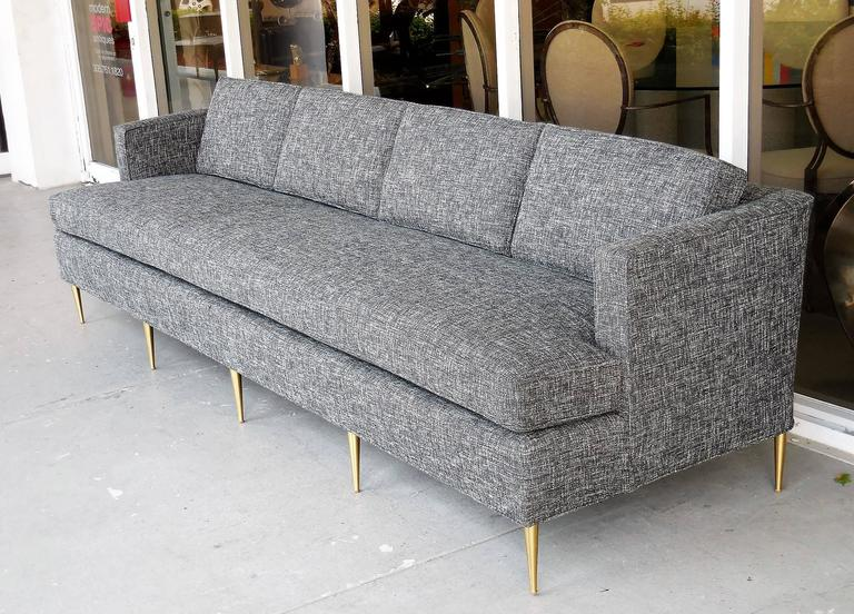 Mid-Century Dunbar Style Sofa with Brass Legs For Sale 3