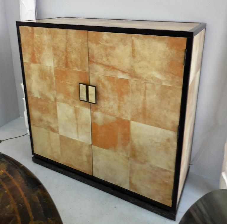 parchment wood and bronze cabinet manner of jean michel frank at 1stdibs