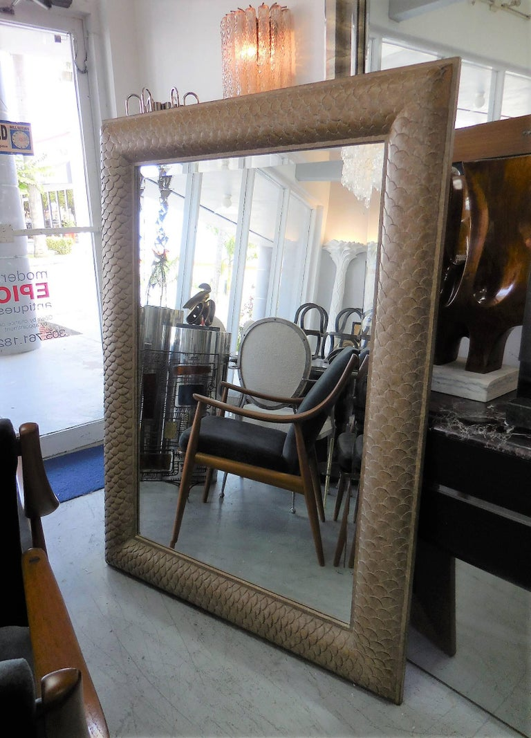 Large Carved Mirror with Scale Detail For Sale 1