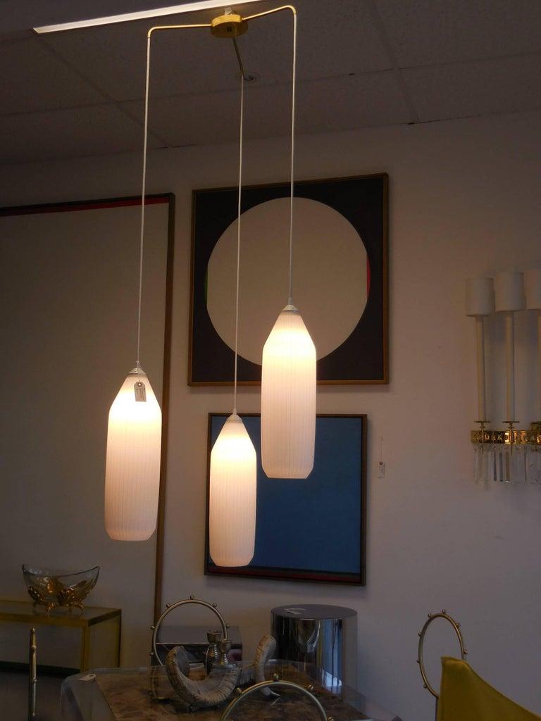 Midcentury Three Light Italian Pendant Chandelier 1950s
