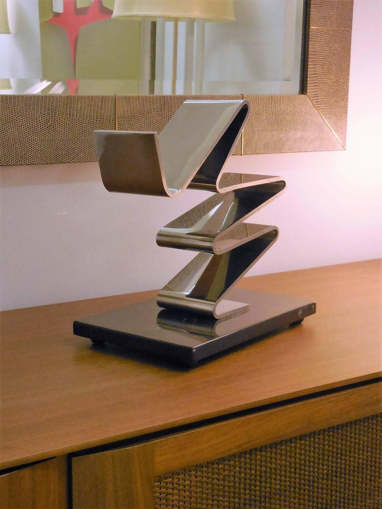 American Kurt Larisch Stainless Steel Sculpture on Marble Base, 1970s For Sale