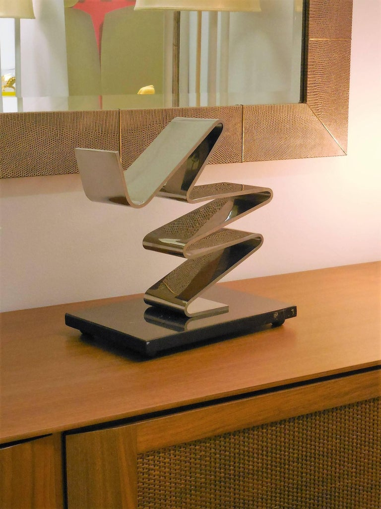 Late 20th Century Kurt Larisch Stainless Steel Sculpture on Marble Base, 1970s For Sale