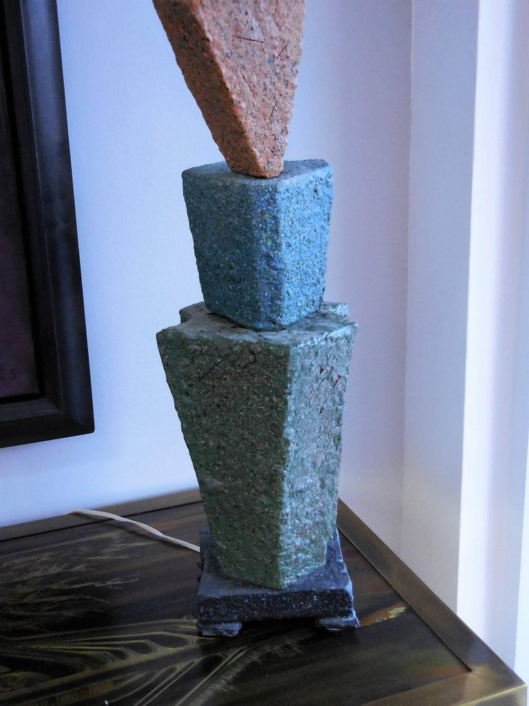 Late 20th Century Sculptural Studio Pottery Ceramic Table Lamp, 1980s For Sale