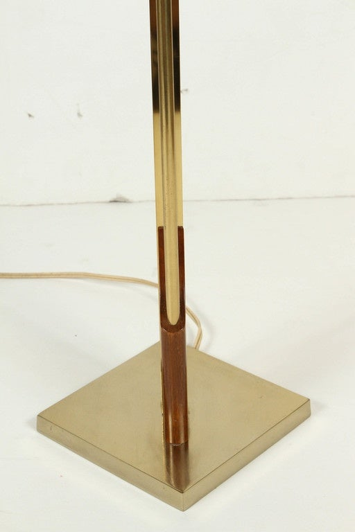 geometric wood and brass table lamp for sale at 1stdibs. Black Bedroom Furniture Sets. Home Design Ideas