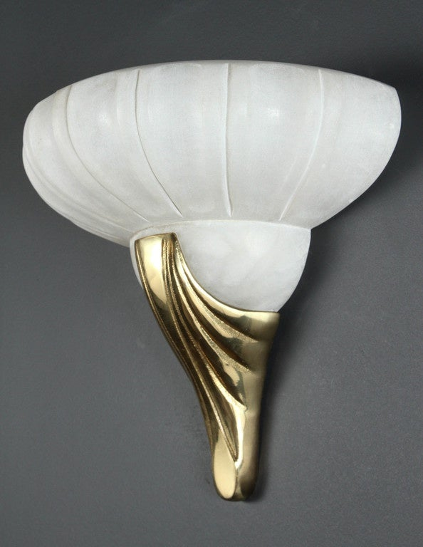 Wall Sconce Frosted Glass : Deco Style Frosted Glass and Brass Wall Sconce For Sale at 1stdibs