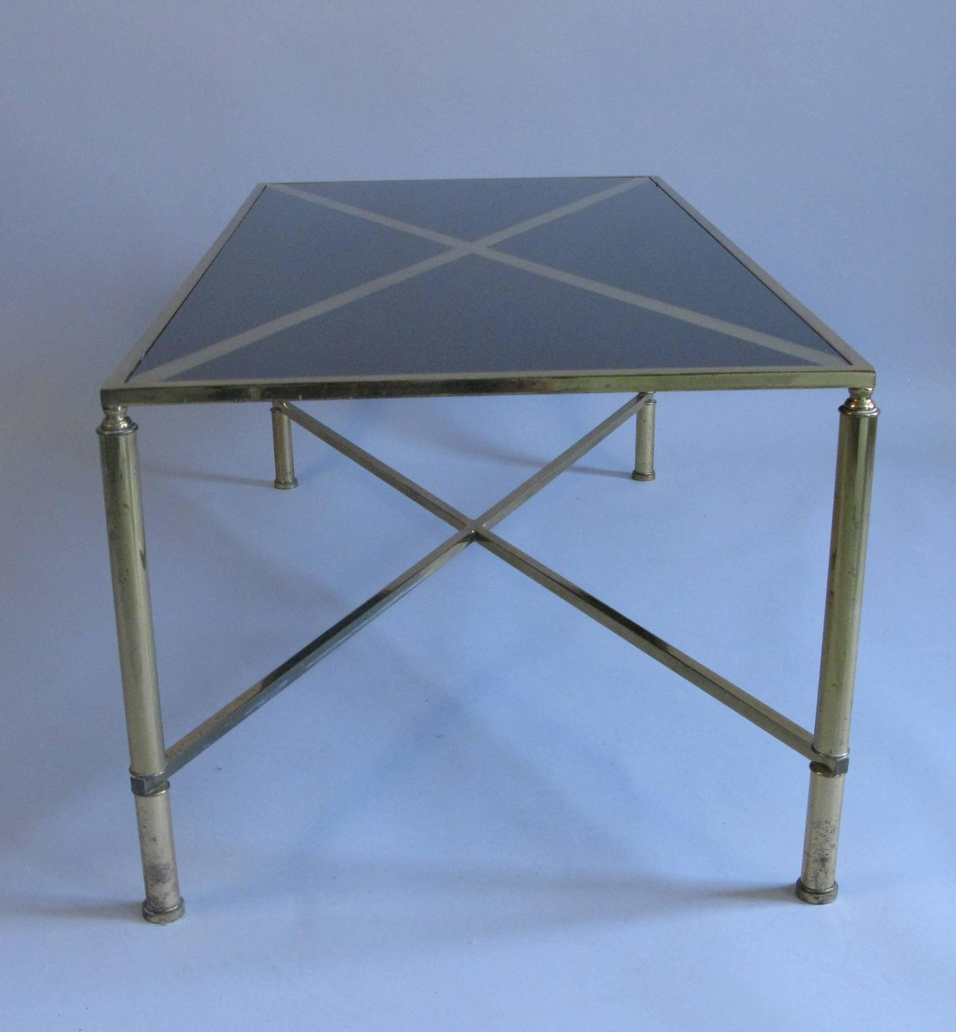 Black Glass Coffee Table Sale: 1960s Black Glass And Brass Coffee Table For Sale At 1stdibs