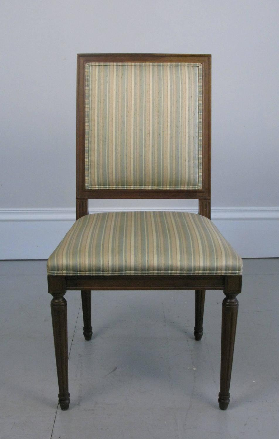 Six 1960s Baker Furniture Dining Chairs Louis XVI Style