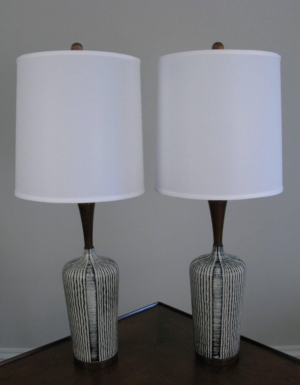 pair of mid century danish glazed ceramic table lamps at 1stdibs. Black Bedroom Furniture Sets. Home Design Ideas