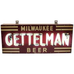 "1930s Porcelain Neon Sign ""Milwaukee Gettelman Beer"""