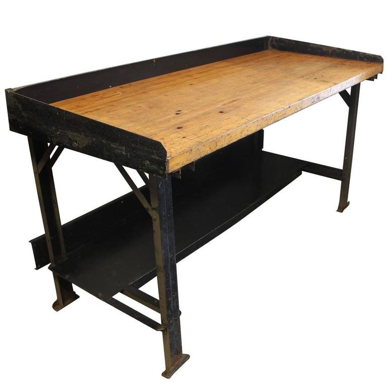 vintage industrial cast iron and wood display work bench conference dining table at 1stdibs. Black Bedroom Furniture Sets. Home Design Ideas