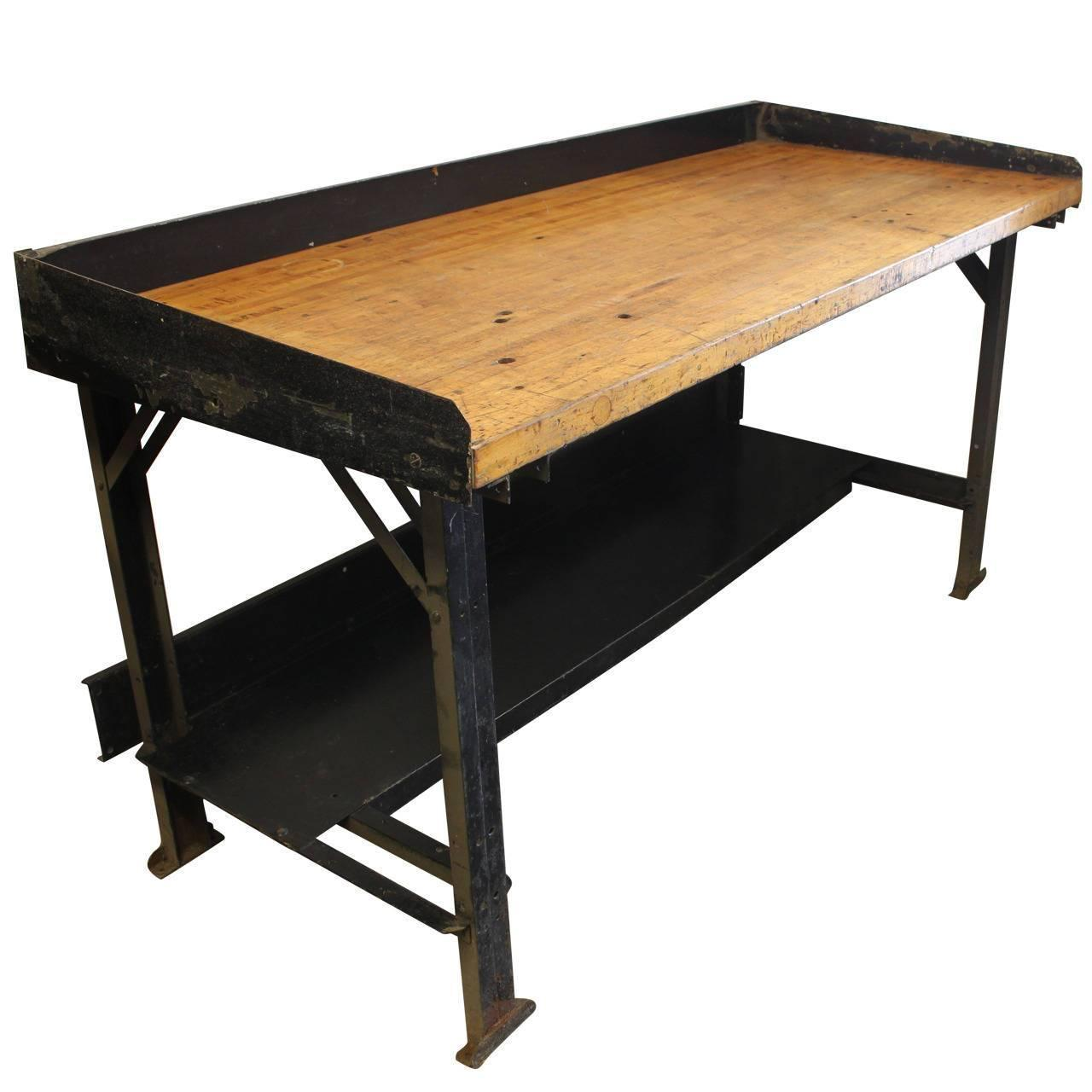 Bench Tables For Sale: Vintage Industrial Work Table For Sale At 1stdibs