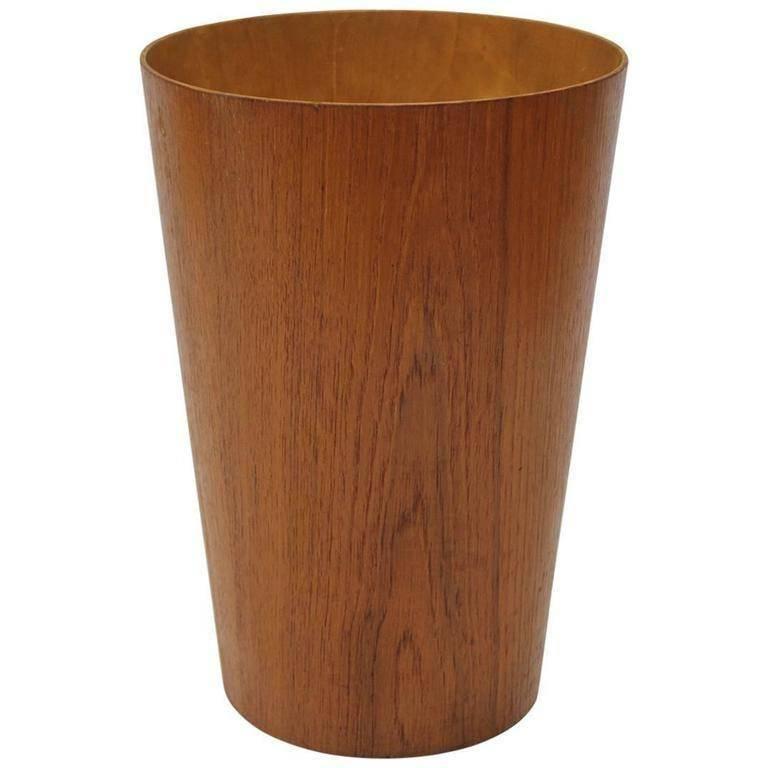 Mid-Century Tall Teak Danish Waste Basket