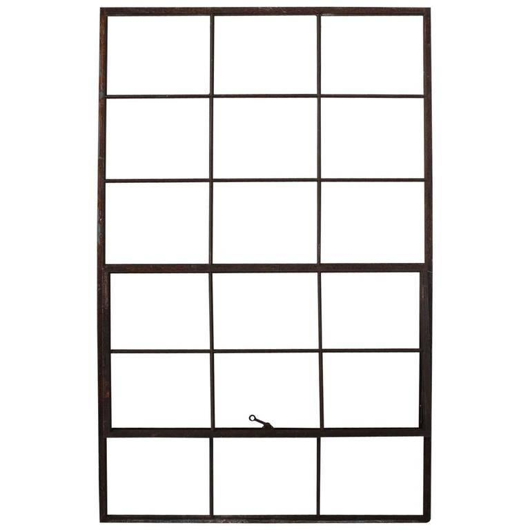 Large Antique American Industrial Metal Casement Window For Sale