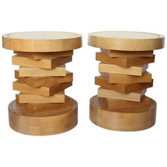 Midcentury Wood and Travertine Side Tables