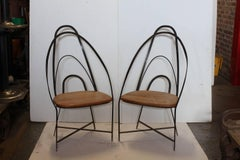 Mid Century French Hand Made Iron Chairs