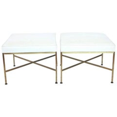 Pair of X-Base Brass and Leather Stools or Benches by Paul McCobb