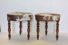 Antique English Cowhide & Wood Stools