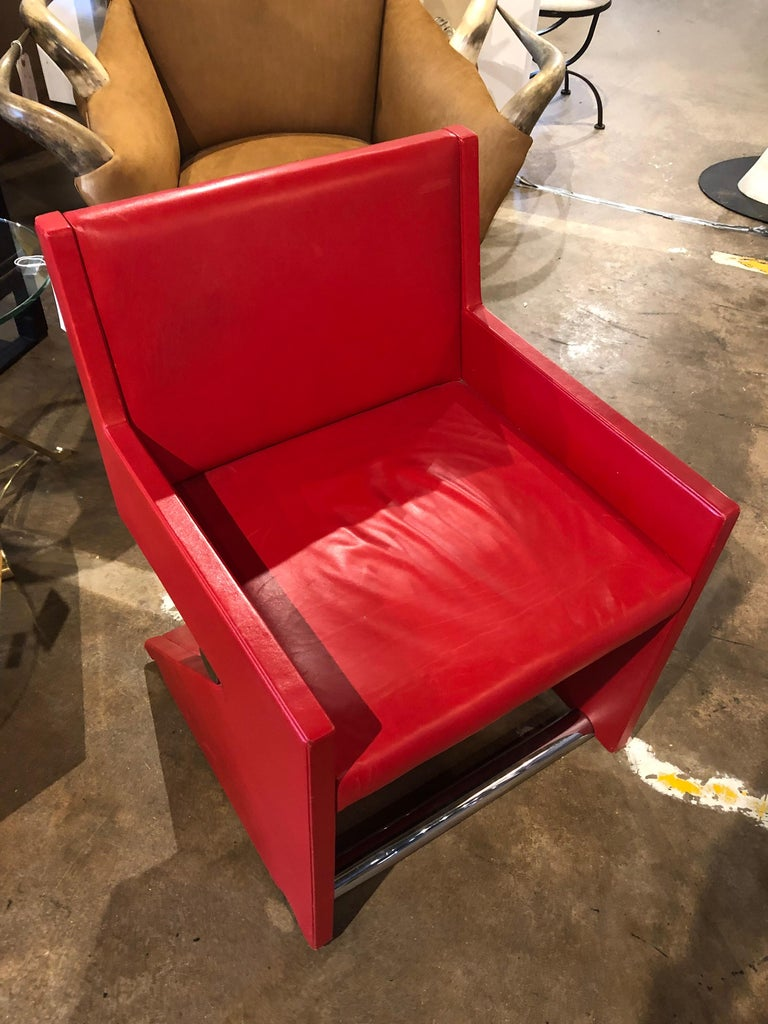 Late 20th Century Modern Leather Desk Chair For Sale