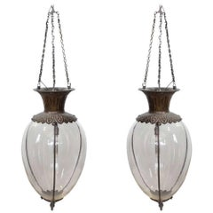 Spectacular Large Antique Drugstore Glass and Bronze Show Globes Chandeliers