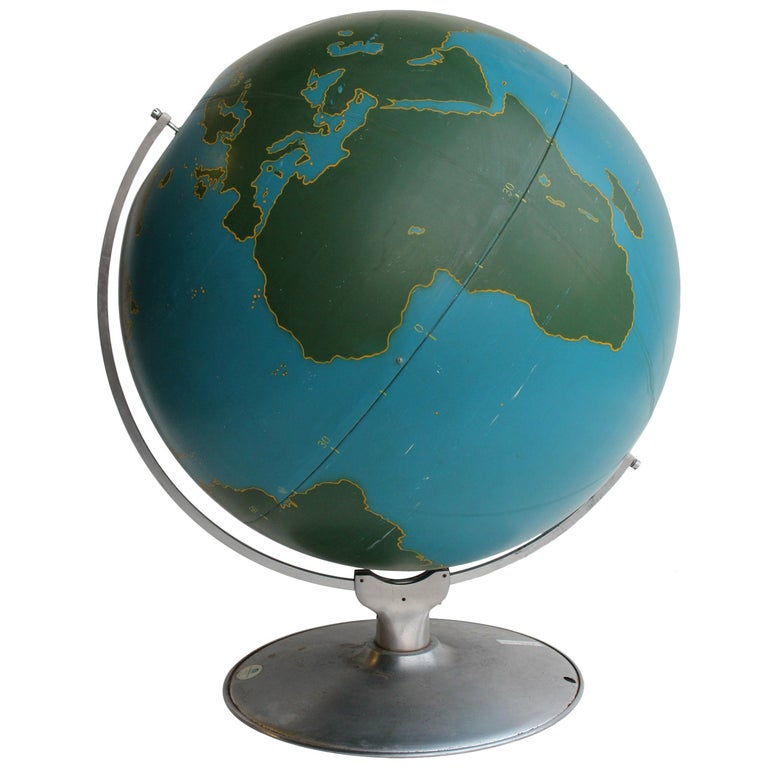 Oversized 1940s American Original Aviation World Globe by A.J. Nystrom & Co. For Sale