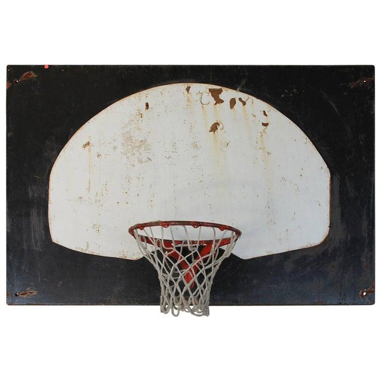 Original 1920s Metal Basketball Backboard and Cast Iron Hoop For Sale